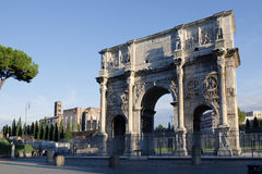 The Arch of Constantine, Rome, Italy. The Arch of Constantine: a triumphal arch in Rome near Colosseum, erected by the Roman Senate in 315 AD to commemorate Royalty Free Stock Image