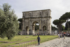 Arch of Constantine, Rome, Italy. The Arch of Constantine is a triumphal arch in Rome, situated between the Colosseum and the Palatine Hill Stock Photography