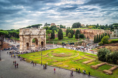 Arch of Constantine in Rome. Italy. View from the Coliseum Royalty Free Stock Image