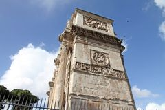 Arch of Constantine in Rome. Next Coliseum Stock Photo