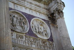 Arch of Constantine in Rome next Coliseum. The Arch of Constantine in Rome next Coliseum Stock Photo