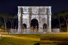 Arch of Constantine. In Rome by Night Royalty Free Stock Images
