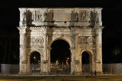 The Arch of Constantine in Rome by night. Italy Royalty Free Stock Image