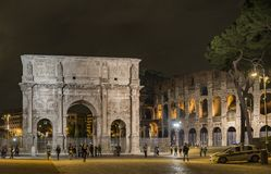 Arch of Constantine in Rome. ROME - NOVEMBER 15, 2014: Roman Arch of Constantine near the Colosseum on November 15, 2014, in the city of Rome, Italy Royalty Free Stock Photo