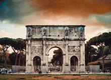 Arch of Constantine in Rome. Perspective of the Arch of Constantine in Rome at night Royalty Free Stock Image