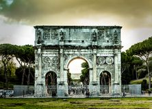 Arch of Constantine in Rome. Perspective of the Arch of Constantine in Rome at night Royalty Free Stock Photography