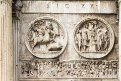 Arch of Constantine in Rome. Relief of the battle of Ponte Milvio, Proelium Royalty Free Stock Photos