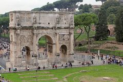 Arch of Constantine, Rome. ROMA, ITALY - 01 OCTOBER 2017: Arch of Constantine, Rome Royalty Free Stock Photography