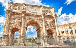 Arch of Constantine Rome. The spectacular Arch of Constantine, located between the Colosseum and the Arch of Titus, built to celebrate the triumph of the emperor Stock Photos