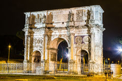 The Arch of Constantine in Rome. The Arch of Constantine in a summer night in Rome, Italy Royalty Free Stock Photo