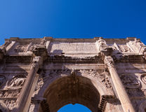 Arch of Constantine, Rome. Summer view of the Arch of Constantine against blue sky. In Rome, Italy Royalty Free Stock Image