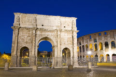 Arch of Constantine, Rome. The Arch of Constantine is a triumphal arch in Rome, situated between the Colosseum and the Palatine Hill Royalty Free Stock Images