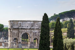 Arch of Constantine, Rome. The Arch of Constantine is a triumphal arch in Rome, situated between the Colosseum and the Palatine Hill, Italy Royalty Free Stock Photos