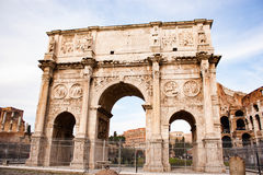 The Arch of Constantine, Rome. The Arch of Constantine is a triumphal arch in Rome, situated between the Colosseum and the Palatine Hill. Rome, Italy Royalty Free Stock Photography