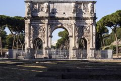 Arch of Constantine Rome. View of the Arch of Constantine located in Rome the eternal city Stock Photos