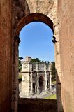 Arch of Constantine in Rome. Arch of Constantine view from Colosseum in Rome. Photo taken in spring Royalty Free Stock Photo