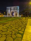 Arch of Constantine, Rome. View of the Arch of Constantine by night. In Rome, Italy Stock Images