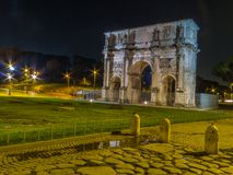 Arch of Constantine, Rome. View of the Arch of Constantine by night. In Rome, Italy Royalty Free Stock Images