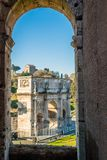 Arch of Constantine seen from the Colosseum. Arch of Constantine seen from the Coliseum doors in Rome Stock Photography