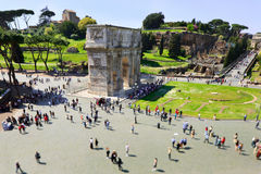 Arch of Constantine seen from Colosseum. Rome Stock Photography