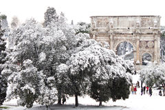 Arch of Constantine with snow, Rome. ROME - FEBRUARY 04: Amazing view of the Arch of Constantine with snow on February 4, 2012. Snowfalls in Rome are very rare Stock Photography