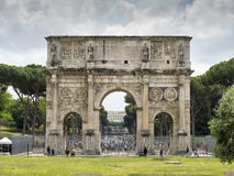 Arch of Constantine in spring. ROME, ITALY - MAY, 2016: Arch of Constantine in spring in Rome, Italy Royalty Free Stock Photos