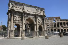 Arch of Constantine in Rome, Italy royalty free stock photo