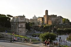 Roman Forum. Arch of Constantine and the Temple of Venus and Roma Stock Photo