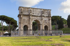 Arch of Constantine. Tourists visiting Arch of Constantine from Rome, Italy Stock Photography