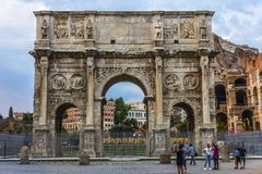 The Arch of Constantine, a triumphal arch between the Colosseum and the Palatine Hill stock images