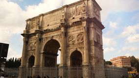 Arch of Constantine, triumphal arch near the Colosseum in the center of Rome stock video footage
