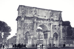 Arch of Constantine. A triumphal arch in Rome, located between the Colosseum and the Palatine Hill Royalty Free Stock Photo