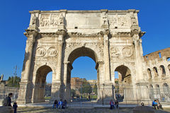 Arch of Constantine. A triumphal arch in Rome, located between the Colosseum and the Palatine Hill Stock Photos