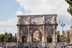 Arch of Constantine. Is a triumphal arch in Rome, situated between the Colosseum and the Palatine Hill Stock Photos