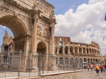 Arch of Constantine. Is a triumphal arch in Rome, situated between the Colosseum and the Palatine Hill Royalty Free Stock Photography