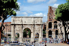 The Arch of Constantine. Is a triumphal arch in Rome, situated between the Colosseum and the Palatine Hill Stock Image