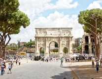 Arch of constantine, rome. The Arch of Constantine is a triumphal arch in Rome, situated between the Colosseum and the Palatine Hill. It was erected by the Roman Stock Photo