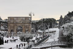 Arch of Constantine under snow. ROME - FEB 4: Arch of Constantine after the heavy snowfall on February 4, 2012 in Rome. The last snowfall in Rome was in 1985 Stock Photos