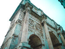 Arch of Constantine, view from below. Rome, Italy. It is the only one in Rome arch built to commemorate the victory over the external enemy is not, as in the Stock Photo