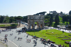 Arch of Constantine view from Coliseum, Rome. Italy Royalty Free Stock Photos
