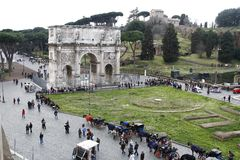 Arch of Constantine. View of the arch of Constantine near the Coliseum in Rome, Italy Royalty Free Stock Images