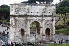 Arch of Constantine. View of the arch of Constantine near the Coliseum in Rome, Italy Stock Image