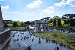 The Arch of Constantine viewed from  the Colisseum in Rome Italy. It was dedicated to the goddesses Venus the Bringer of Good Fortune and Eternal Rome The Royalty Free Stock Photos