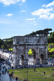 The Arch of Constantine viewed from  the Colisseum in Rome Italy. It was dedicated to the goddesses Venus the Bringer of Good Fortune and Eternal Rome The Stock Photo
