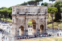 Arch of Constantine located in Rome, Italy. The Arch of Constantine was erected in the year 315 in commemoration of the victory of Constantine. It is located Royalty Free Stock Images
