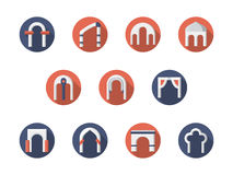 Arch constructions round flat icons set Stock Photo