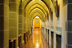 Arch and corridor. Interior arches and corridor of a historical church in victoria, british columbia, canada Royalty Free Stock Photos
