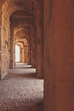 Arch corridor in ancient castle. Or temple Royalty Free Stock Images