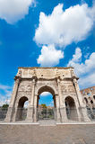 Arch of Costantine. The Arch of Constantine (Italian: Arco di Costantino) is a triumphal arch in Rome, situated between the Colosseum and the Palatine Hill. It Stock Image