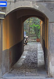 Arch and courtyard in Bergamo. The northern Italy Royalty Free Stock Photography